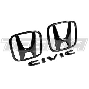 GENUINE HONDA JDM BLACK CHROME BADGE SET CIVIC SPORT 1.5T 16+