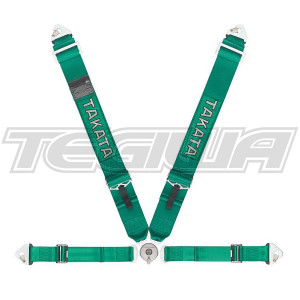 TAKATA RACE 4 POINT HARNESS SNAP-ON GREEN FIA APPROVED