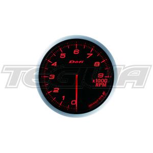 DEFI 80MM ADVANCE BF TACHO/RPM GAUGES RED