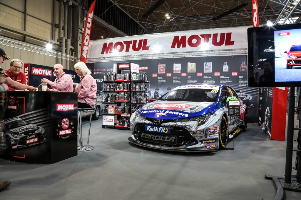 Tom Ingrams Toyota Corolla on the Motul stand