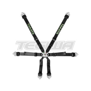 TAKATA RACE 2X2 HARNESS SNAP-ON FHR BLACK - HANS
