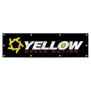 YELLOW SPEED RACING WORKSHOP GARAGE BANNER LARGE 170CM X 70CM