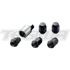 MUGEN WHEEL NUTS AND LOCKING SET M12X1.5 MOST HONDA MODELS BLACK (AFTERMARKET WHEELS)