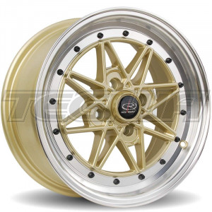 ROTA FLASHBACK ALLOY WHEEL 15 X 7 4X100 ET40 671 POLISHED LIP/GOLD