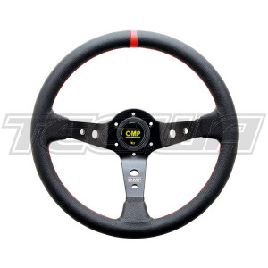 OMP LIMITED EDITION  CORSICA STEERING WHEEL LEATHER 350mm BLACK/RED OD/1956/NR