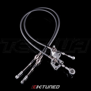 K-Tuned Shifter Cables - Race-Spec Shifter Cables with Billet Trans Bracket